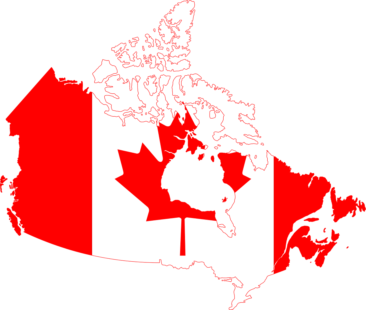 flag, canada, geographical map